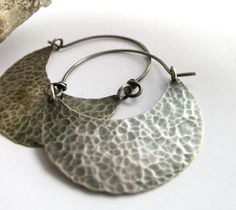 Large Rustic Hammered Sterling Silver Hoop Earrings - Modern Tribal Contemporary Metalsmithed Jewelry.