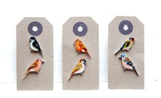 Hand drawn Bird Earrings - Mix and Match by kirstinstride on Etsy