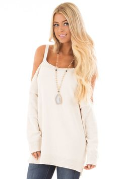 72ef89982c750 Lime Lush Boutique - Ivory Soft Open Shoulder Long Sleeve Sweater
