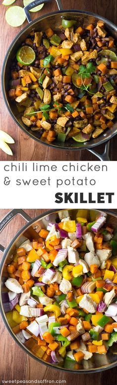 This Chili Lime Sweet Potato and Chicken Skillet is an easy one-pot dinner that is packed with healthy ingredients: chicken, sweet potatoes, black beans, and bell peppers. Flavored with lime juice and chili powder and ready in 45 minutes! @sweetpeasaffron