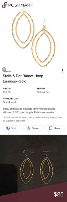Stella & Dot Bardot Hoop Earrings Gold A customer favorite!  No longer available at Stella & Dot.  Excellent used condition.  Great for the holidays! Stella & Dot Jewelry Earrings