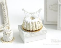 Elegance Vanilla Drizzle Bundt Cake with Lace Topper in 1/12 Dollhouse Miniature Cake