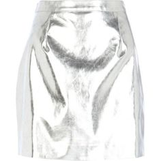 Silver metallic leather-look mini skirt by: River Island