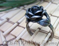 Vintage Sterling Silver Rose Ring / Size 8 / by CREATIONSbySabine, $24.00