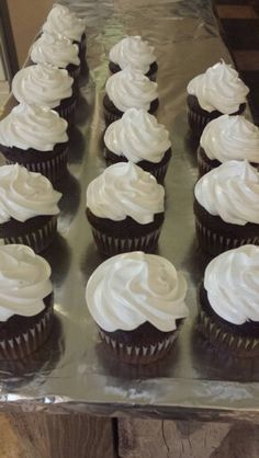 Triple chocolate fudge cupcakes with homemade marshmallow frosting