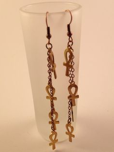 Earrings  Ankh and chain Ankhs on Chain by wirexpressions on Etsy, $12.00