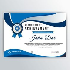 Elegant certificate with blue wavy elements Certificate Background, Blank Certificate, Certificate Of Achievement Template, Certificate Border, Certificate Design Template, Printable Certificates, Award Certificates, Graphic Design Posters, Graphic Design Inspiration
