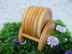 Vintage Coasters - Coaster Holder - Hand Carved Wood - Wood Coaster - Pine Coasters - Six Coasters  - Vintage Barware - Rustic Wood by MissieMooVintageRoom on Etsy