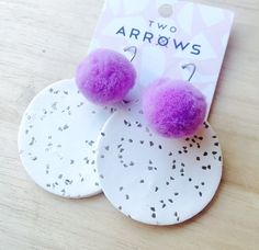 Pom Pom Planet Earrings by TwoArrowsShop on Etsy