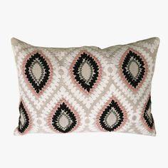 Pink Crewel Embroidery Lumbar Pillow