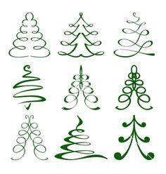 Christmas+trees+sketch+set+vector+1648418+-+by+vladischern on VectorStock®