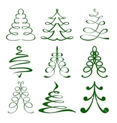 Christmas+trees+sketch+set+vector+1648418+-+by+vladischern on VectorStock®