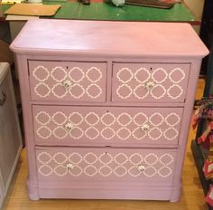 Annie Sloan Chalk Paint Chest Of Drawers Painted in Henrietta with a custom stencil in old white. Annie Sloan Chalk Paint Henrietta, Painted Chest, Custom Stencils, Chest Of Drawers, Painting Techniques, Decor, Paint Techniques, Drawer Unit, Decoration