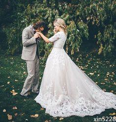 Custom A Line Modest Half Sleeve Princess Wedding Dress Fall Winter Bridal Gowns