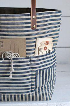 1940's era Ticking Fabric Tote Bag