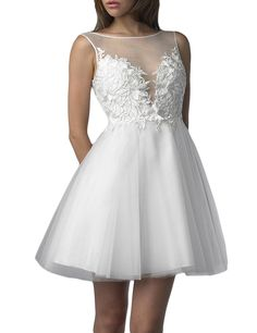 SDRESS Women's Illusion Crewneck Appliques Short Ball Gown Bridesmaid Dress White Size 26. Tulle fabric; Dry clean only. Beautiful illusion crew neckline with sleeveless. Embellished with appliques. Zipper closure, short ball gown style. Made-to-order product, you can receive it in 2 weeks if u choose expedited shipping.