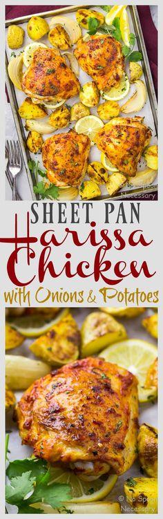 Easy Sheet Pan Harissa Chicken with Potatoes, Onions and a Lemon Yogurt Sauce
