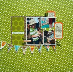 Use white mats to make sure photos stand out on patterned paper base.