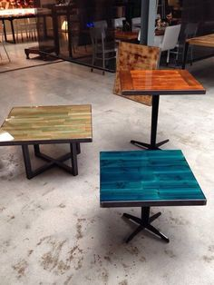 Colourful restaurant tables designed by ccoating. Restaurant Furniture, Restaurant Interior Design, Restaurant Tables, Diy Interior, Resin Table, Wood Table, Resin Furniture, Furniture Design, Furniture Buyers