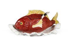 """Vintage Fish Tureen with Ladle, 12""""W x 16""""D x 10""""H, porcelain."""