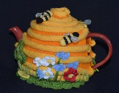 Quick & easy to make this 4-6-cup Tea Pot Cosy, called Bee Hive Tea Cosy Pattern  Not only make it for yourself, but what a lovely birthday or special