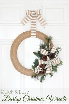 Burlap Christmas Wreath Tutorial - Love of Family & Home
