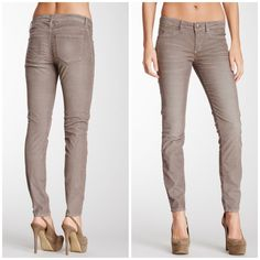 """Stitch's Maya skinny cord jeans smoke - Zip fly with button closure - 5 pocket construction - Skinny leg - Approx. 7"""" rise, 34"""" inseam - Imported Fiber Content: 70% cotton, 30% polyester Care: Machine wash Fit: this style fits true to size.  Bundle for even bigger savings! Offers welcome. No trades. Stitch's Jeans Skinny"""