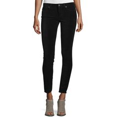 Paige Premium Denim Verdugo Ultra-Skinny Ankle Jeans ($200) ❤ liked on Polyvore featuring jeans, black, cropped jeans, skinny leg jeans, super low rise skinny jeans, fitted jeans and cropped skinny jeans