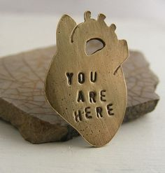 Anatomical Heart Lapel Pin Brass You Are Here @HouseThatCrowBuilt