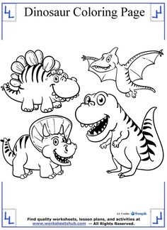 Cartoon Dinosaurs Coloring Page Pages