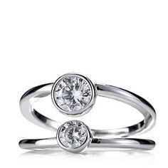Diamonique 1.2ct tw Openwork Double Bezel Set Ring Sterling Silver