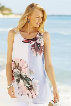 Sleeveless Floral Tunic Tank: #Travelsmith $79.95
