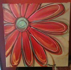 I love painting these funky daisies. I have painted several sets and have one daisy painting hanging in my kitchen! Canvas Crafts, Diy Canvas, Canvas Art, Canvas Ideas, Canvas Paintings, Painted Canvas, Flower Paintings, Daisy Painting, Painting & Drawing