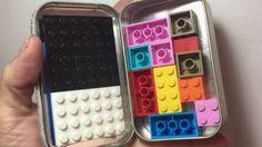 """Mini porta Lego para bolso  Imagina um Mini Kit LEGO para """"sobrevivência""""   Perfeito para aqueles momentos de ir ao restaurante ou para um passeio curto.  Bem melhor que usar um jogo eletrônico.  Você vai precisar de uma embalagem de metal (peguei essa de Altoids) cola quente EVA colorido para encapar e algumas pecinhas de LEGO. Imagina na festa tema lego um porta copos feitos com as pecinhas. Adorei essa ideia e com uma festa de Lego a criatividade não tem asas.   Para fazer os porta copos…"""