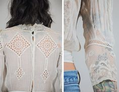 Vintage early 1900s edwardian antique blouse. Paper thin cotton with intricate floral delicate lace and crochet detail throughout. Tiniest buttons line the back with hooks. Fitted at waist. Beautiful piece.  Size listed is just an estimate - Please see measurements for fit. We only have ONE of each item.  ✂ - - - MEASUREMENTS: (all were taken while laying flat)  Fits like : xxs / xs  B R A N D : - B U S T : 16-19 L E N G T H : 19 S H O U L D E R : 14 S L E E V E : 17 W A I S T : 12 F A B R…