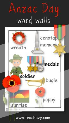 Anzac Day Word Walls for younger students. www.teachezy.com www.earlychildhood.com