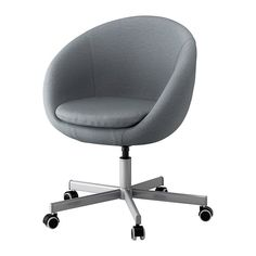 IKEA SKRUVSTA Swivel chair Flackarp medium grey You sit comfortably since the chair is adjustable in height. Cool Chairs, Bar Chairs, Dining Chairs, Office Chairs, Study Chairs, Desk Chairs, Office Furniture, Gray Furniture, Ikea Chairs