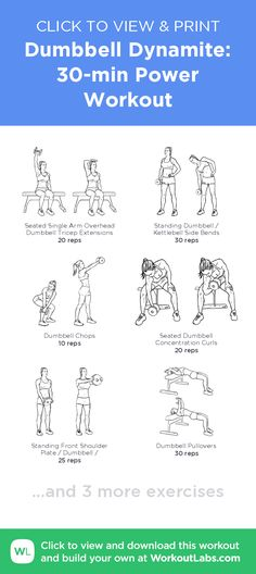 Dumbbell Dynamite: 30-min Power Workout –click to view and print this illustrated exercise plan created with #WorkoutLabsFit