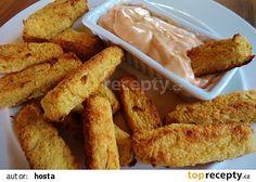 Křupavé květákové tyčinky recept - TopRecepty.cz Onion Rings, Sweet And Salty, Chicken Wings, Hummus, French Toast, Almond, Potatoes, Meat, Breakfast