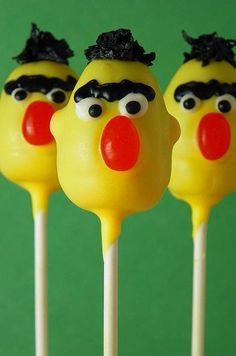 Cupcakes Take The Cake: Sesame Street on a stick: Bert, Ernie, Elmo, Big Bird and Cookie Monster cake pops!