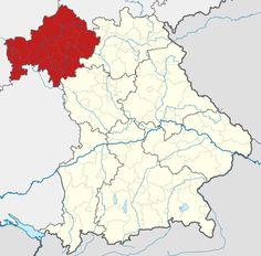 Lage von Regierungsbezirk Unterfranken in Bayern, Deutschland