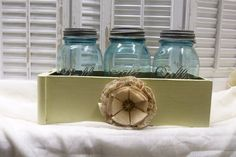 Vintage Sewing Drawer with Blue Jars  Upcycle  $28.00  @RusticPrairieCottage