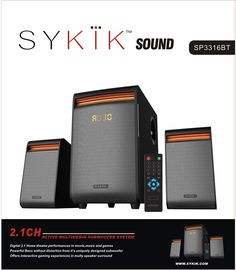 Amazon.com: Sykik SP3316BT, Powerful 42W RMS, Wireless Bluetooth Connection. High tech metal grill covers. SD, USB and RCA in-put ports. Built-in FM radio with LED display. Full function remote control.: Electronics
