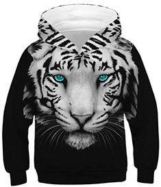 Ocean Plus Garçon Sweat à Capuche Adolescents Multicolores Enfants Sweat à  Manches Longues Pull-Over Sweatshirts (L (Hauteur  145-155cm) Tigre Blanc  aux ... b7b74fd45c9
