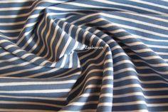 Baumwolljersey Ringel Streifen Bündchen Jersey  graublau weiß Meterware Öko Tex