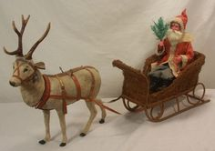 Antique German Father Christmas with Reindeer Candy Container and Sleigh C1910 | eBay