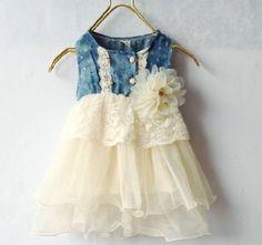 Girls Ivory Tutu Dress Denim Lace Waist Flower Corsage Denim White Girls Dress 9-12 months,12-24 months,2T,3T
