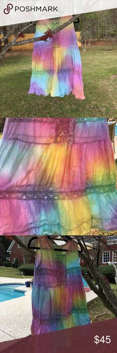 🌴LAST DAY! Jen's Pirate Booty tie dye short dress GUC JPB short cotton dress with soft cotton lace inserts. Very soft and the perfect cover up for bicycling to the beach. Does have 3 small stains- the largest one smaller than a pencil eraser. I tried to get it out with Shout! but don't have oxyclean or any other stain remover. Has been laid flat to dry when I washed the dress. This is a re-posh for me, so I do not know what caused the stain originally. Price reflects this mystery. Jen's…