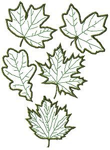 Set of 5 Machine Embroidery Designs Advanced Embroidery, Embroidery Leaf, Machine Embroidery Patterns, Applique Patterns, Embroidery Stitches, Felt Patterns, Wool Applique, Applique Quilts, Leaf Template