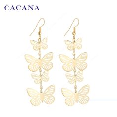 CACANA Gold Plated Dangle Long Earrings For Women Flying Butterfly Fashion Top Quality Bijouterie Hot Sale No.A219 A220